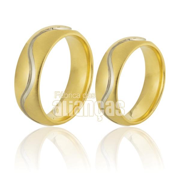 Alianças De Noivado e Casamento Em Ouro Amarelo 18k 0,750 Fa-795
