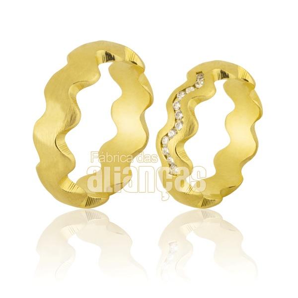 Alianças De Noivado e Casamento Em Ouro Amarelo 18k 0,750 Fa-797