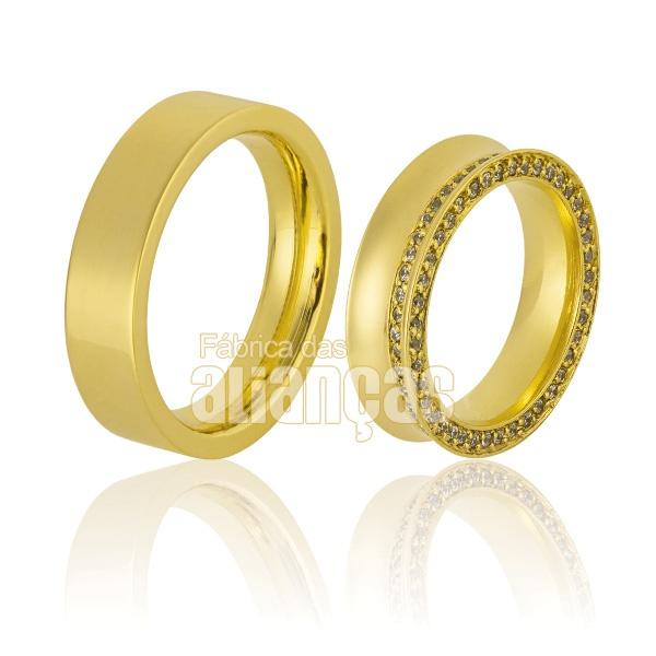 Alianças Côncavas de Ouro 18k com Diamantes