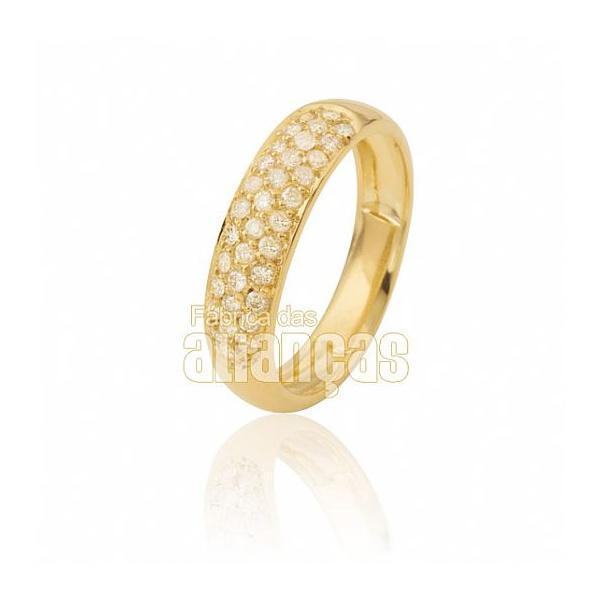 Aparador Para Aliança De Noivado e Casamento Em Ouro Amarelo 18k 0,750 Fa-807
