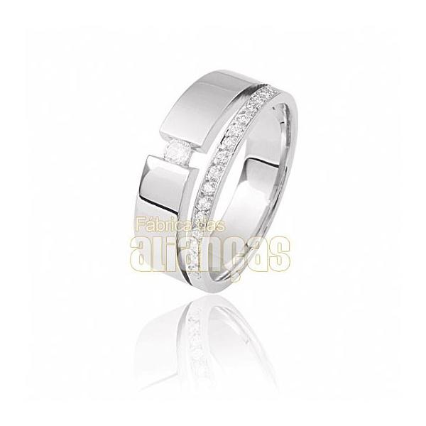 Aparador Para Aliança De Noivado e Casamento Em Ouro Branco 18k 0,750 Fa-809-u-b