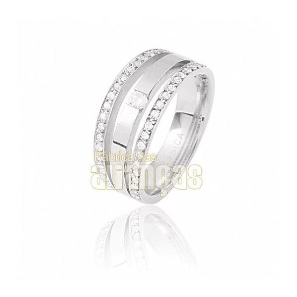 Aparador Para Aliança De Noivado e Casamento Em Ouro Branco 18k 0,750 Fa-810-u-b