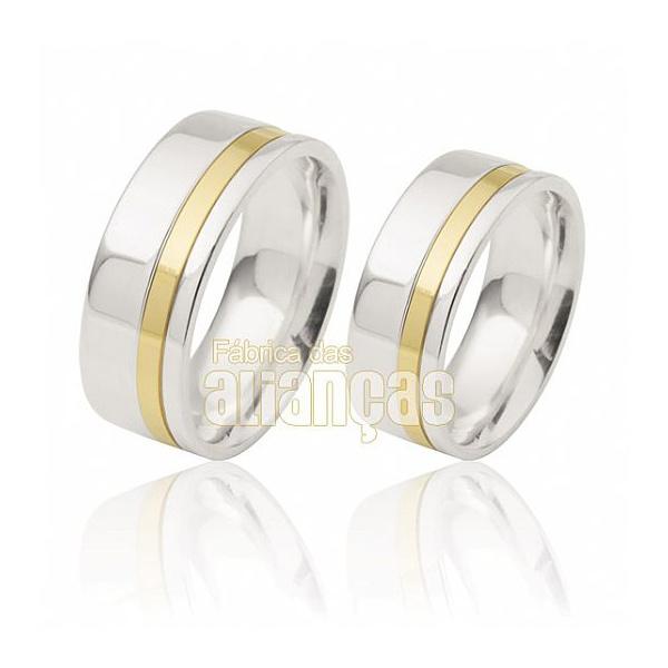 Aliança De Noivado e Casamento Em Ouro Branco 18k 0,750 Fa-819