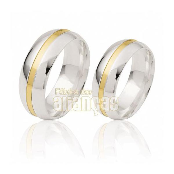 Alianças De Noivado e Casamento Em Ouro Branco 18k 0,750 Fa-820