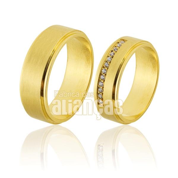 Alianças De Noivado e Casamento Em Ouro Amarelo 18k 0,750 Fa-822