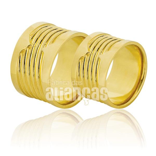 Alianças De Noivado e Casamento Em Ouro Amarelo 18k 0,750 Fa-825