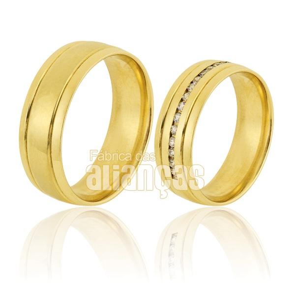 Alianças De Noivado e Casamento Em Ouro Amarelo 18k 0,750 Fa-826