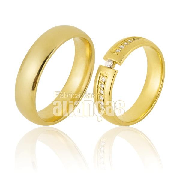 Alianças De Noivado e Casamento Em Ouro Amarelo 18k 0,750 Fa-849