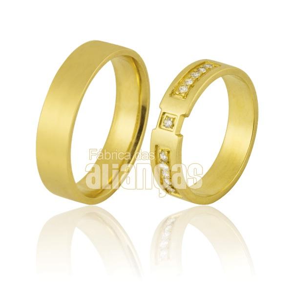 Alianças De Noivado e Casamento Em Ouro Amarelo 18k 0,750 Fa-855