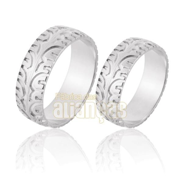 Aliança De Noivado e Casamento Em Ouro Branco 18k 0,750 Fa-857-b