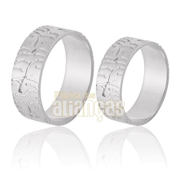 Aliança De Noivado e Casamento Em Ouro Branco 18k 0,750 Fa-858-b