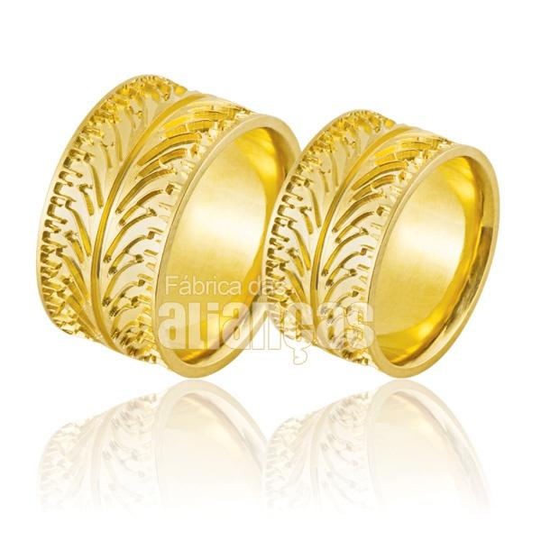Alianças De Noivado e Casamento Em Ouro Amarelo 18k 0,750 Fa-862
