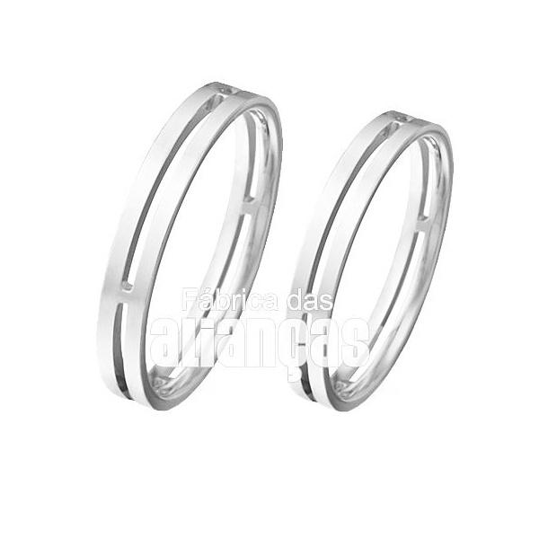 Aliança De Noivado e Casamento Em Ouro Branco 18k 0,750 Fa-94-b