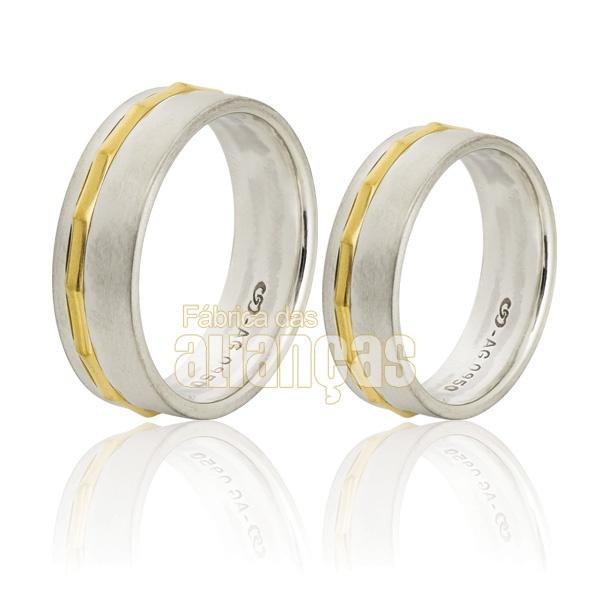 Alianças De Compromisso Em Prata 0,950k Com Ouro Amarelo 18k 0,750 - FA-AG-3200 - Fábrica das Alianças