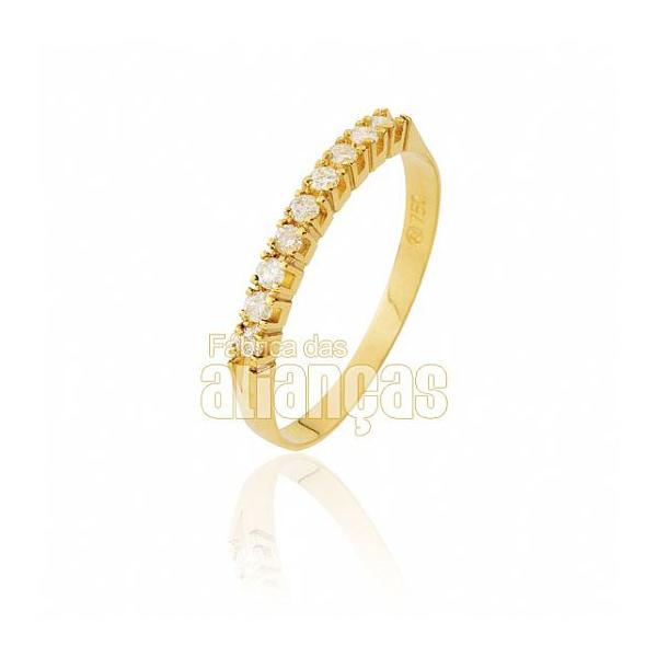 Meia Aliança Com Diamantes Em Ouro 18k 0,750 Fa-ma-01