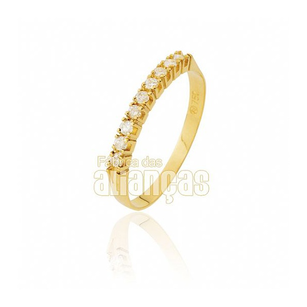 Meia Aliança Com Diamantes Em Ouro 18k 0,750 Fa-ma-02