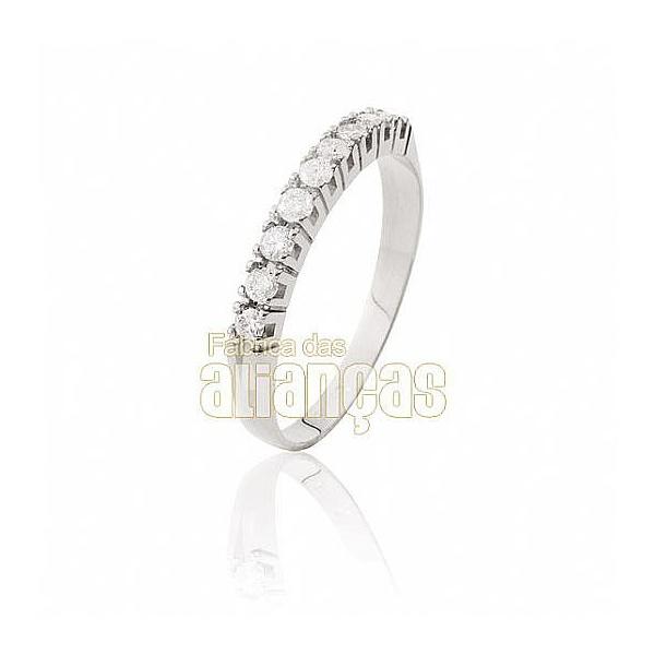 Meia Aliança Com Diamantes Em Ouro Branco 18k 0,750 Fa-ma-03-b