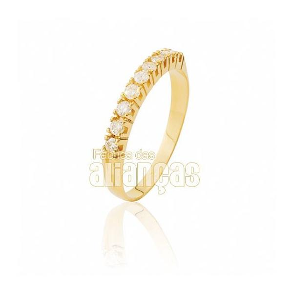 Meia Aliança Com Diamantes Em Ouro 18k 0,750 Fa-ma-03