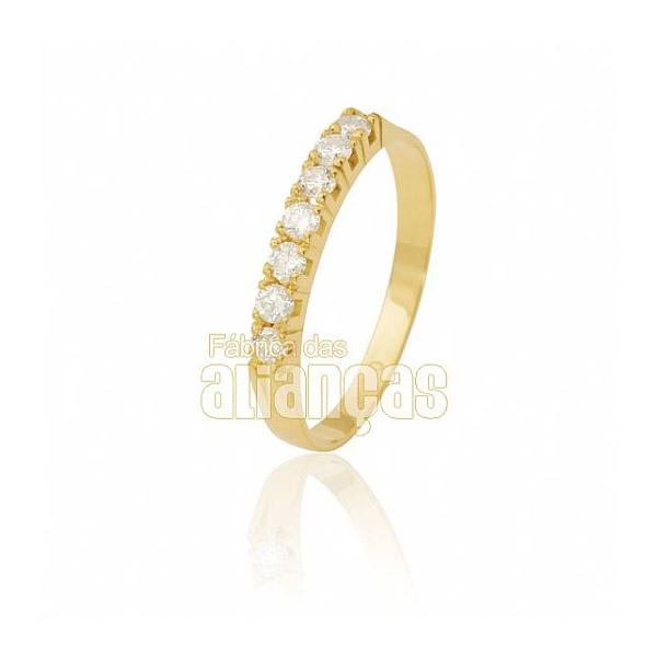 Meia Aliança Com Diamantes Em Ouro 18k 0,750 Fa-ma-05
