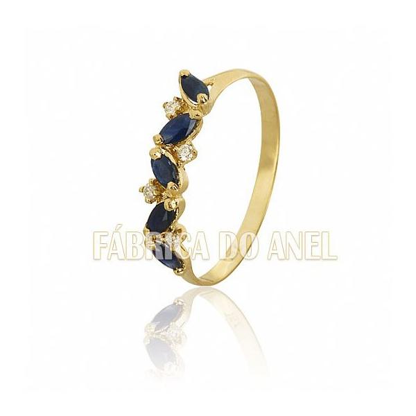 Meia Aliança Com Safiras e Diamantes Em Ouro 18k 0,750 Fa-ma-08