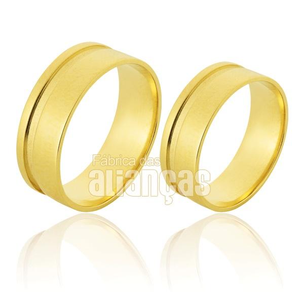 Alianças De Noivado e Casamento Em Ouro Amarelo 18k 0,750 Fa-508