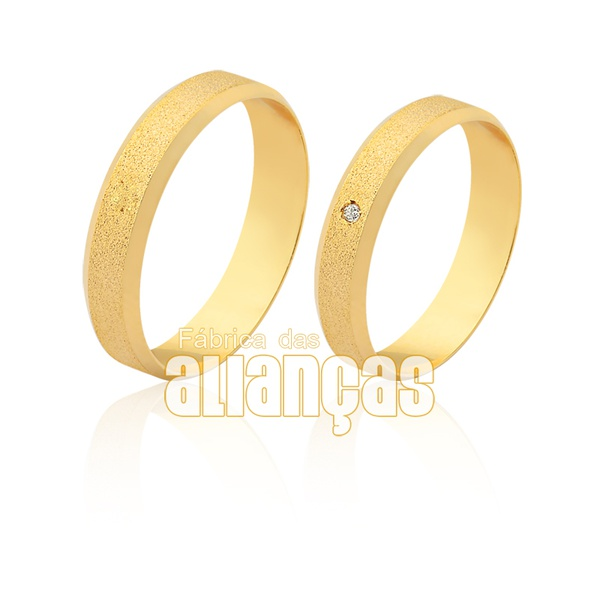 Aliança em ouro 18k fina com brilhante