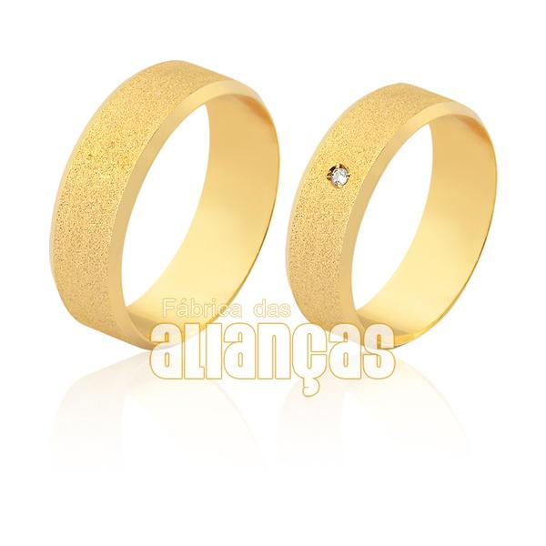 Alianças em ouro 18k com detalhe em brilhante