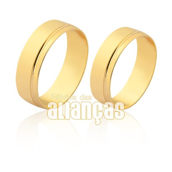Aliança em ouro 18k com detalhe