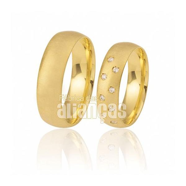Alianças De Noivado Escovada De Ouro Amarelo 18k