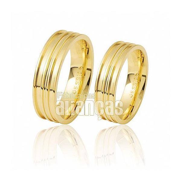 Alianças De Noivado e Casamento Em Ouro Amarelo 18k 0,750 Fa-414