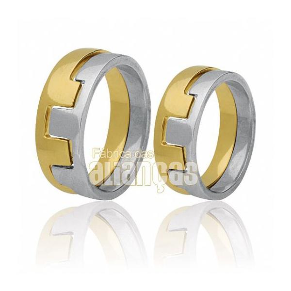 Alianças De Noivado e Casamento Em Ouro Amarelo e Branco 18k 0,750 Fa-423