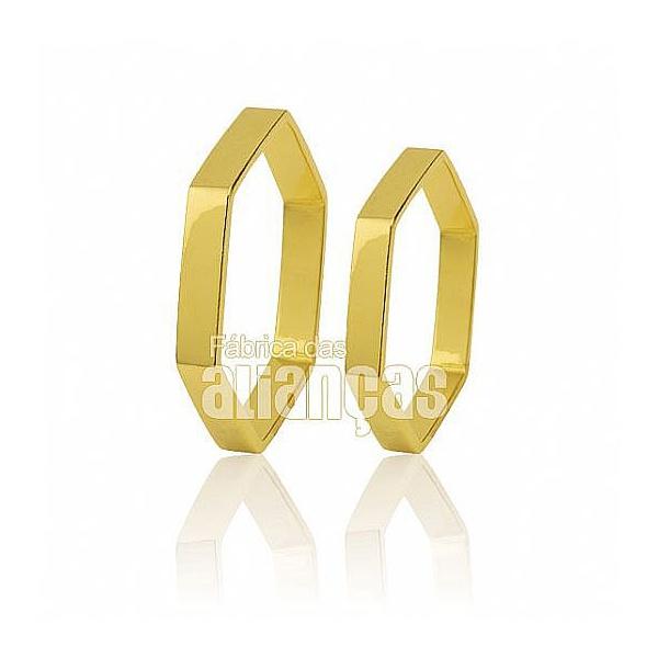 Alianças De Noivado e Casamento Em Ouro Amarelo 18k 0,750 Fa-457