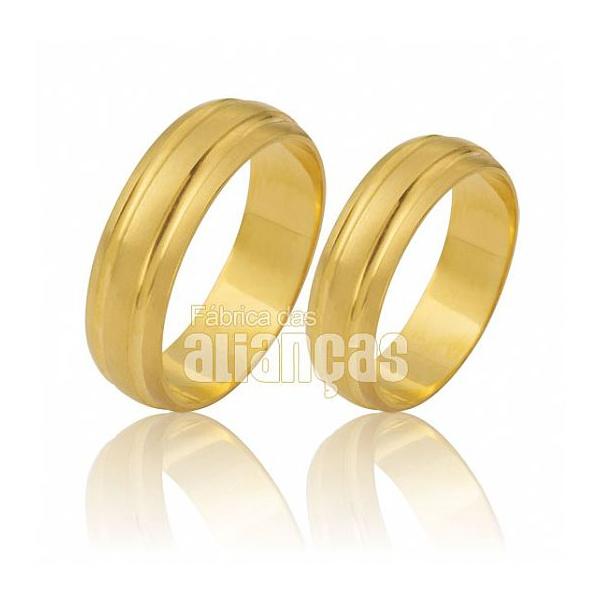 Alianças De Noivado e Casamento Em Ouro Amarelo 18k 0,750 Fa-481