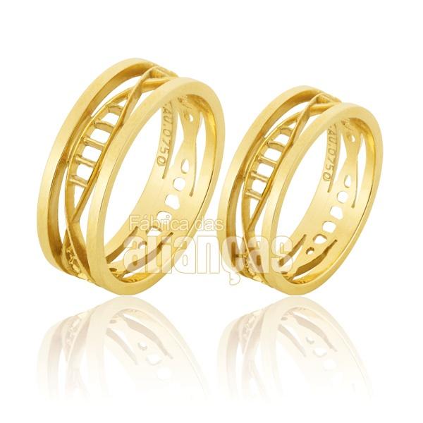 Alianças De Noivado e Casamento Em Ouro Amarelo 18k 0,750 Fa-839