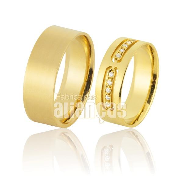 Alianças De Noivado e Casamento Em Ouro Amarelo 18k 0,750 Fa-891