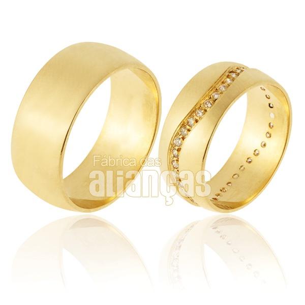 Alianças De Noivado e Casamento Em Ouro Amarelo 18k 0,750 Fa-907