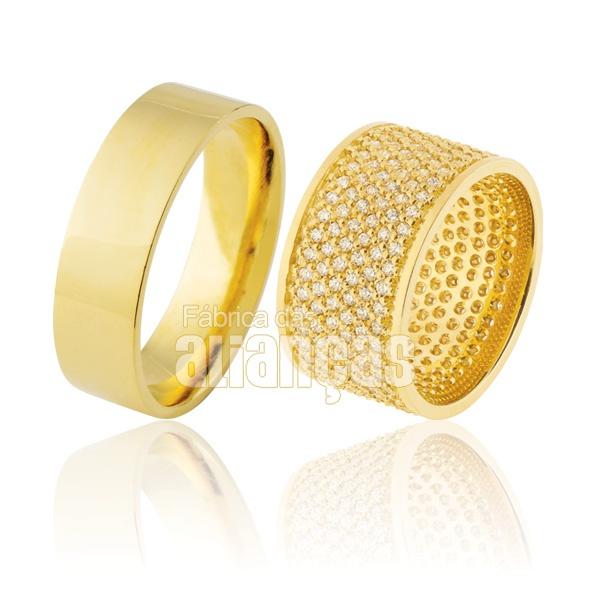 Alianças De Noivado e Casamento Em Ouro Amarelo 18k 0,750 Fa-908