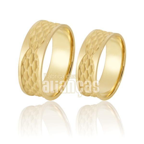 Alianças De Noivado e Casamento Em Ouro Amarelo 18k 0,750 Fa-934