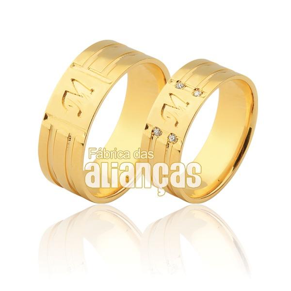 Alianças De Noivado e Casamento Em Ouro Amarelo 18k 0,750 Fa-935