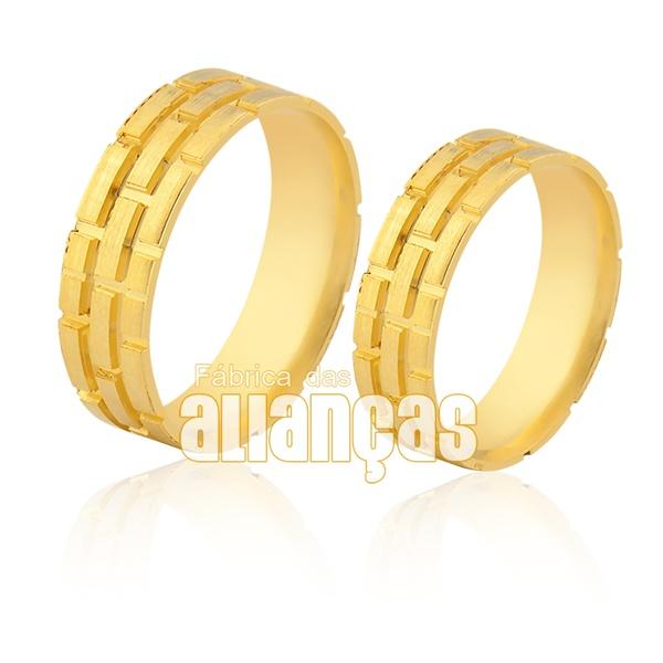 Alianças De Noivado e Casamento Em Ouro Amarelo 18k 0,750 Fa-940