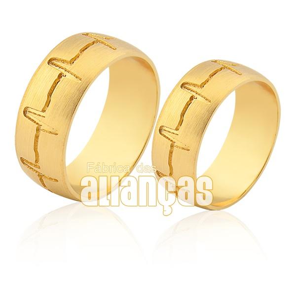 Alianças De Noivado e Casamento Em Ouro Amarelo 18k 0,750 Fa-941