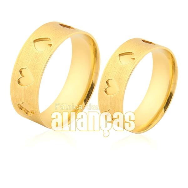 Alianças De Noivado e Casamento Em Ouro Amarelo 18k 0,750 Fa-943