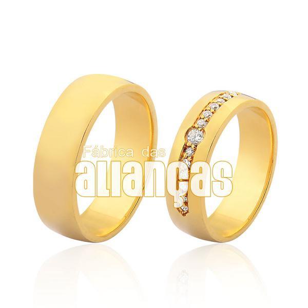 Alianças De Noivado e Casamento Em Ouro Amarelo 18k 0,750 Fa-982