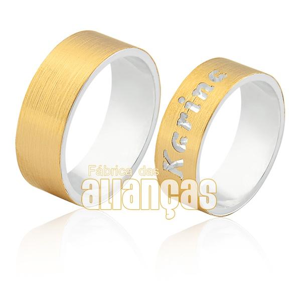 Alianças De Compromisso Em Prata 0,950k Com Ouro Amarelo 18k 0,750 - FA-AGR-52 - Fábrica das Alianças