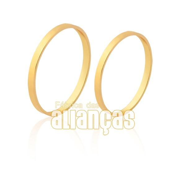 Alianças De Noivado e Casamento Em Ouro Amarelo 18k - FA-1500 - Fábrica das Alianças