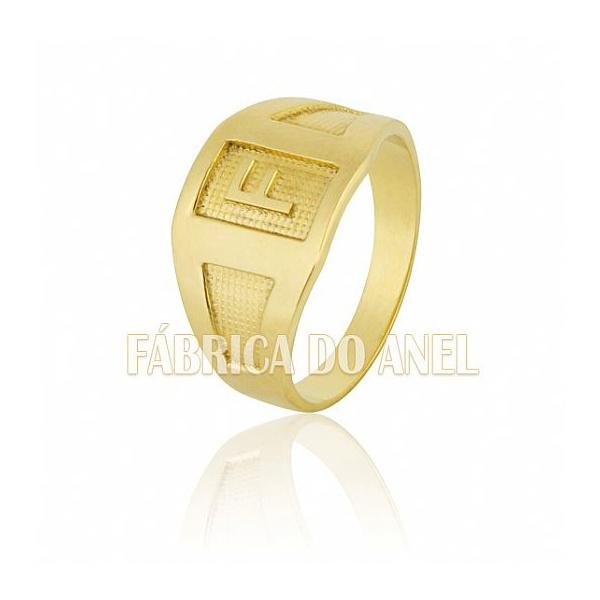 Anel Masculino Em Ouro Amarelo 18k 0,750 A-06