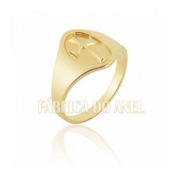Anel Masculino Em Ouro Amarelo 18k 0,750 A-14