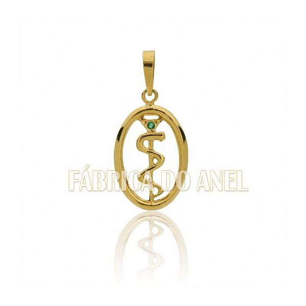 Pingente De Formatura De Medicina Em Ouro Amarelo 18k 0,750 P-43
