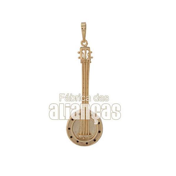 Pingente Exclusivo De Banjo Em Ouro Amarelo 18k 0,750 Fa-p-154