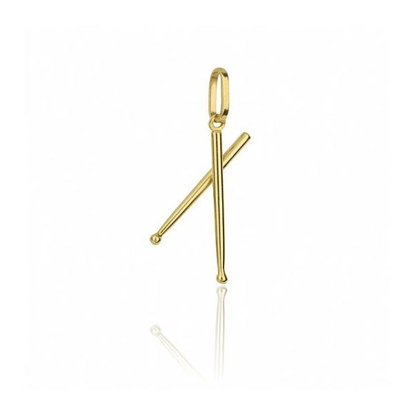 Pingente Exclusivo De Baquetas Em Ouro Amarelo 18k 0,750 Fa-p-162